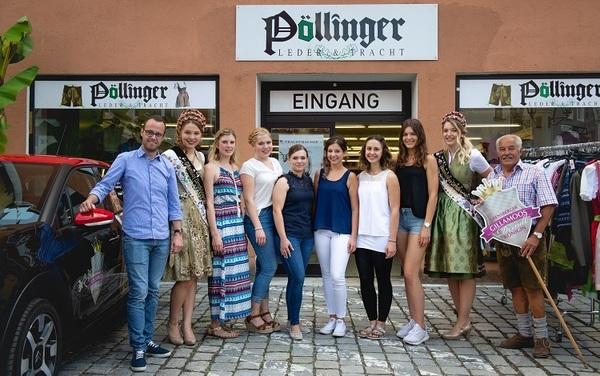 © Marco Holzhäuser; eingerahmt von Moderatoren und amtierenden Königinnen die sechs Kandidatinnen für die nächste Wahl